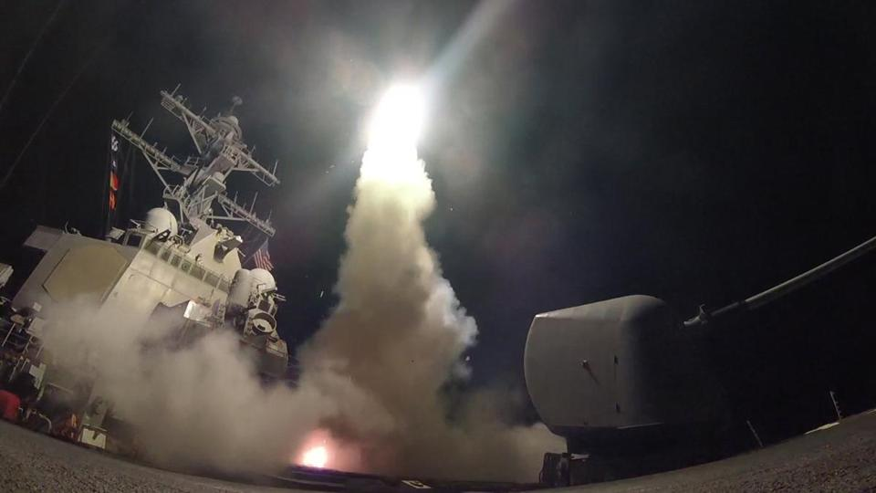 A US Navy destroyer launched a cruise missile at Syria in 2017, after a reported poison gas attack. US officials said they did not fire missiles at Syria on Monday, even though President Trump promised to retaliate after another gas attack.