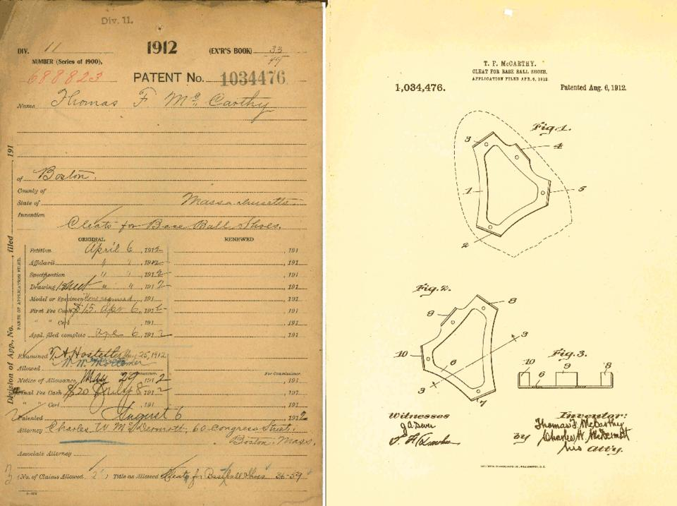 Tommy McCarthy was sharp on and off the field: Here's his cleat patent.