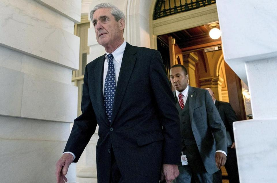 FILE - In this June 21, 2017, file photo, former FBI Director Robert Mueller, the special counsel probing Russian interference in the 2016 election, departs Capitol Hill following a closed door meeting in Washington. The special counsel's office wants to talk to Donald Trump about the firings of James Comey and Michael Flynn, but as the president's lawyers negotiate the terms and scope of a possible interview, they're left with no easy options. (AP Photo/Andrew Harnik, File)