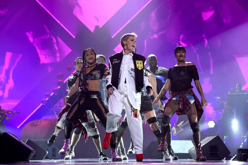 Pink in concert with her dancers in Minnesota in February.