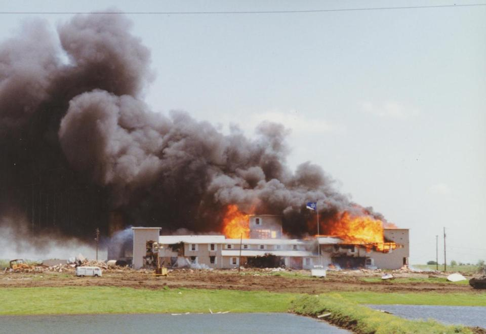 2017 PBS television program - American Experience: Oklahoma City. Pictured: The Branch Davidian compound burning in Waco, Texas (April 1993).