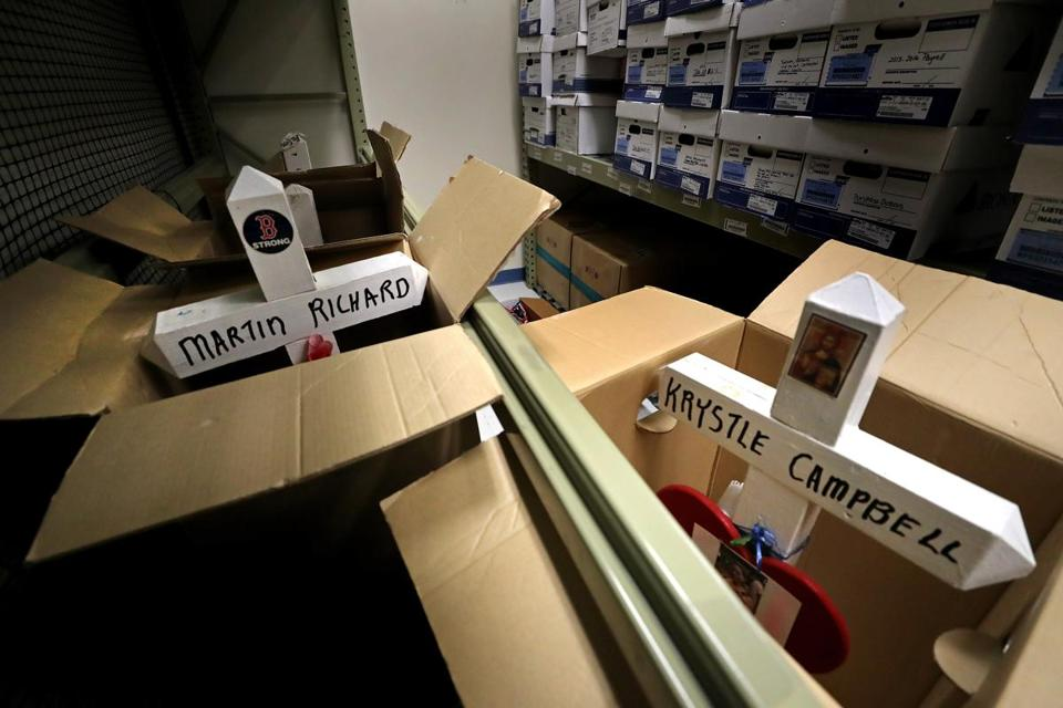 Among the items in storage are four crosses that bear the names of those who died in the 2013 Boston Marathon bombing.