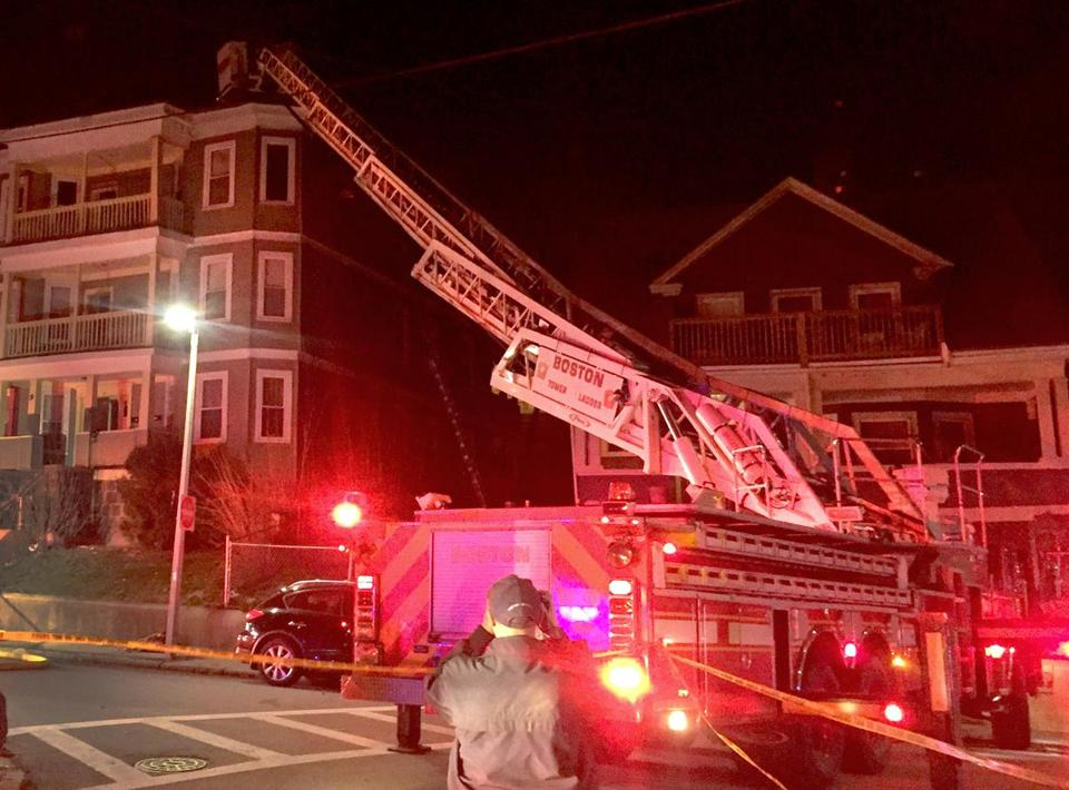 A 90-feet ladder on a Boston fire truck  malfunctioned and collapsed Wednesday night.