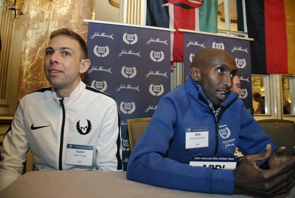 Galen Rupp (left) and Abdi Abdirahman are among the contenders in Monday's race.
