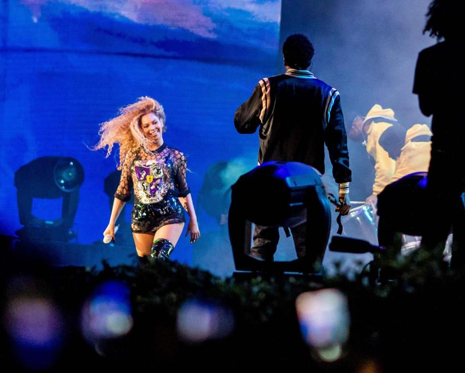 Beyonce performs with Jay-Z Saturday during the Coachella Music and Arts Festival in Indio, California, April 14, 2018. / AFP PHOTO / Kyle GrillotKYLE GRILLOT/AFP/Getty Images
