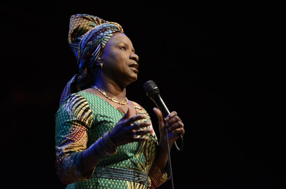 Angelique Kidjo at Sanders Theatre on Friday.