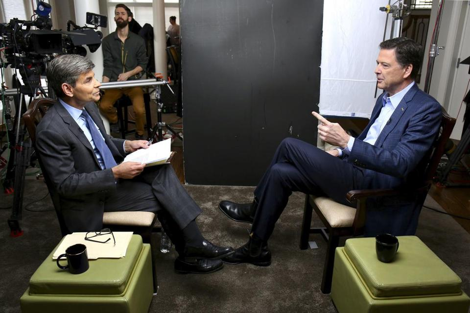 ABC's George Stephanopoulos (left) interviewed former FBI director James Comey for a taped sit-down that aired Sunday.