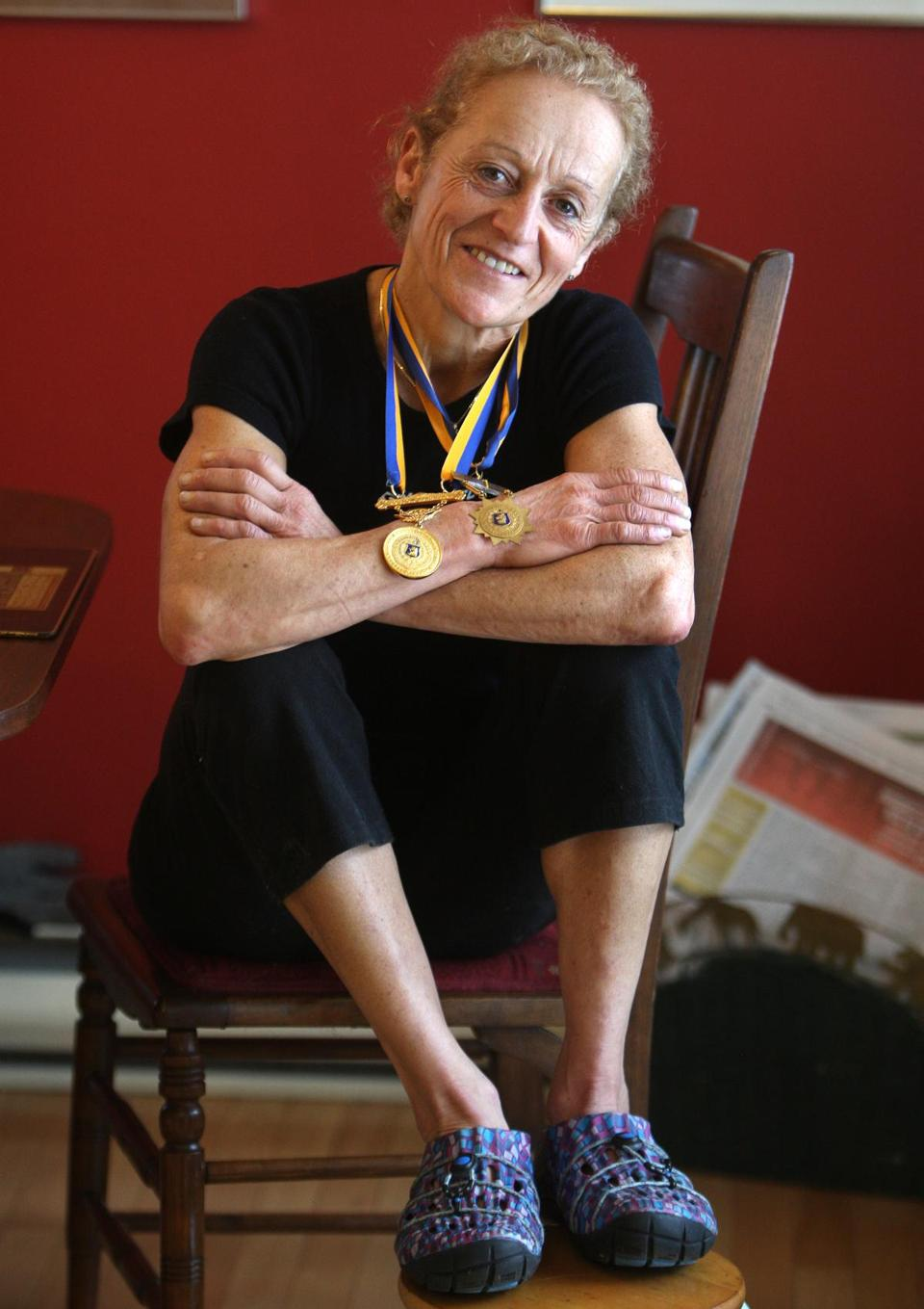 "Jacqueline Gareau, the 1980 winner, conducts running and walking clinics and also gives lectures on the theme ""Balancing for Global Health."""