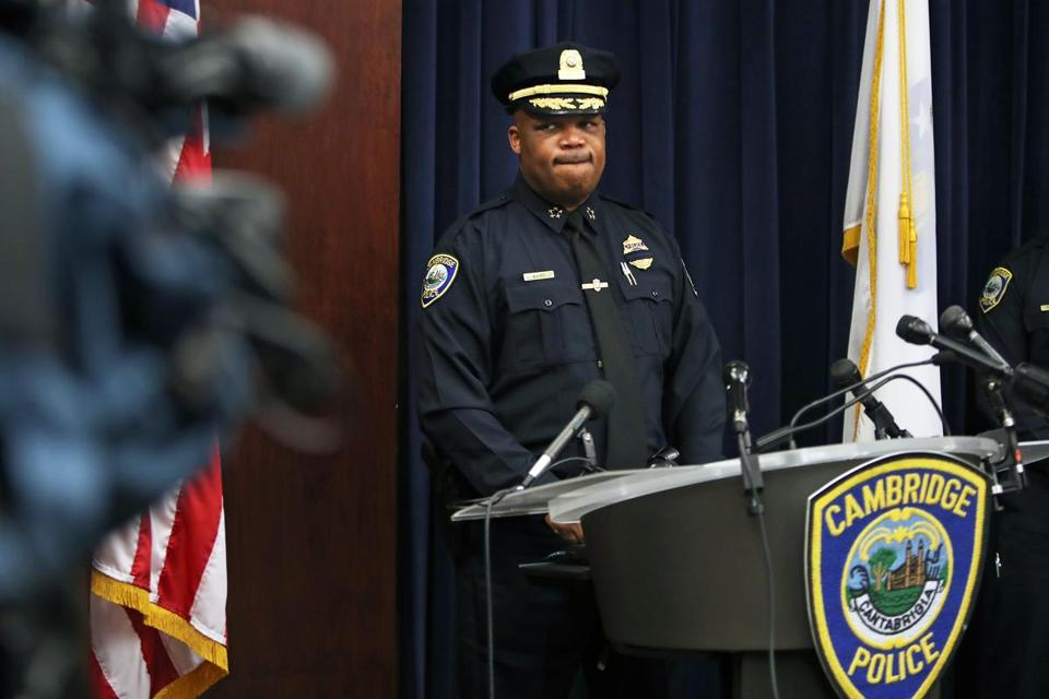 Cambridge Police Commissioner Branville G. Bard Jr. at a press conference on Monday defended his officers' actions during a skirmish with a Harvard student Friday night.