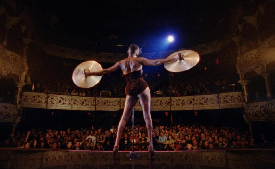 "A scene from ""Grace Jones: Bloodlight and Bami,"" Sophie Fiennes's documentary on the singer, style icon, and actress."