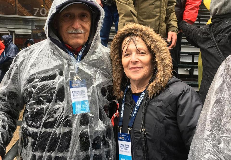 Desiree Linden's parents at the finish line
