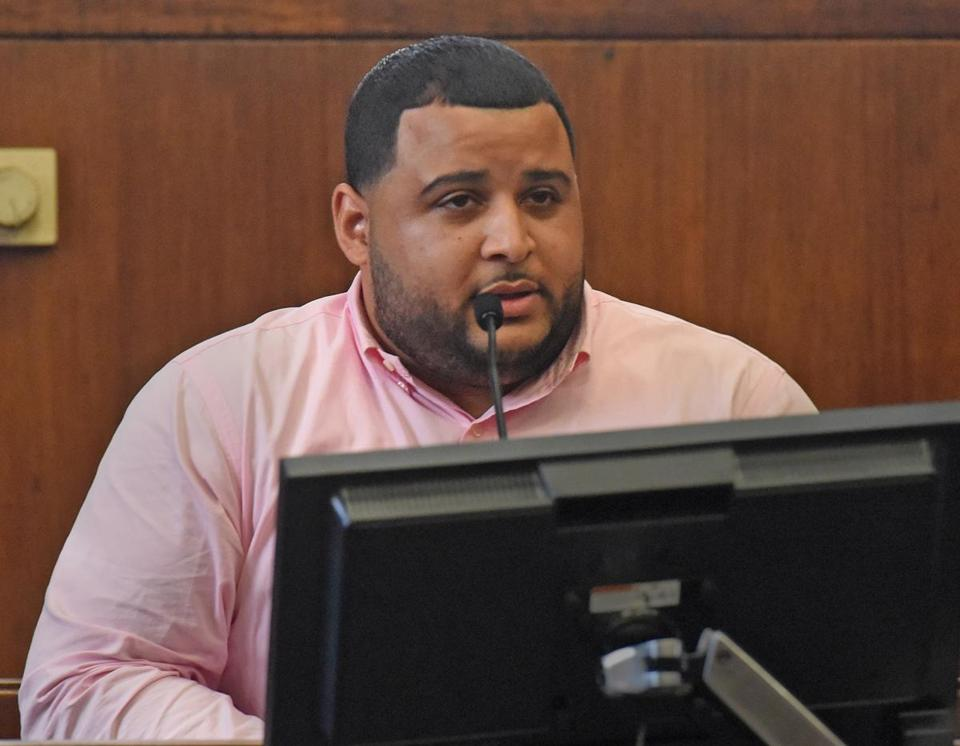 (Boston, MA) - Luis Blanco makes a victim's impact statement on Tuesday, April 17, 2018 inside Suffolk Superior Court during the sentencing of Boston Police officer Michael Doherty. (Patrick Whittemore/Pool)