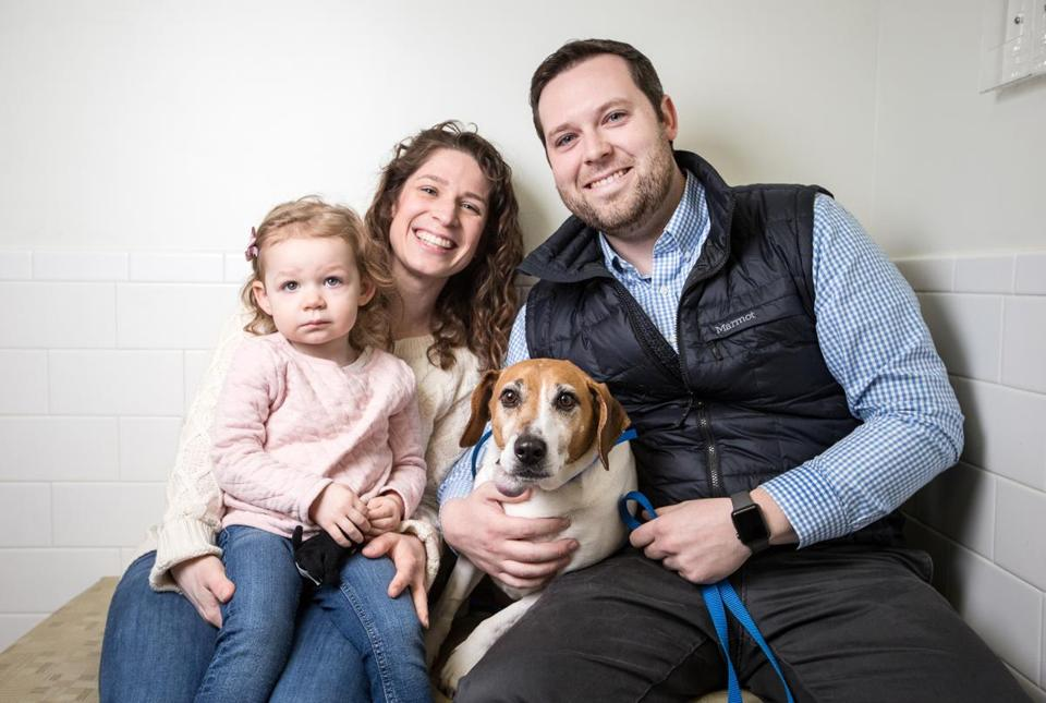 "04/02/2018 NORTH GRAFTON, MA L-R Eileen Livermore (cq), Eloise, 2, their beagle mix ""Donnie,"" and Patrick Livermore (cq) pose together at the Cummings Veterinary Medical Center at Tufts University in North Grafton. (Aram Boghosian for The Boston Globe)"