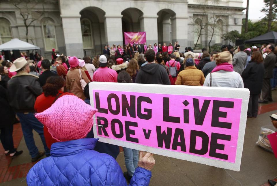 A sign supporting Roe v. Wade appeared at a Planned Parenthood rally on Jan. 22 in Sacramento, Calif., which marked the 45th anniversary of the landmark decision.