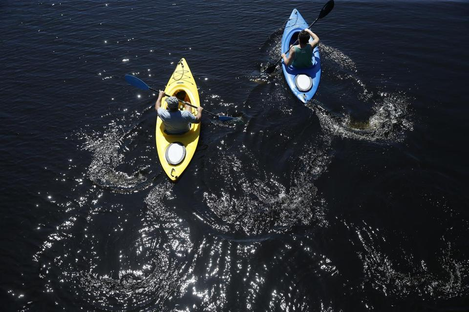 Needham, MA -- 5/16/2017 - Kayakers paddle down the Charles River. (Jessica Rinaldi/Globe Staff) Topic: Reporter: