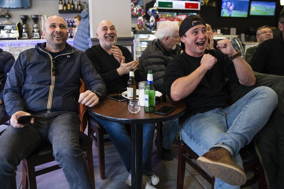 From left: Rick Antonellis, Fabrizio Nicastro, and Giulio Caperchi watched a UEFA Champions League match last week in a Boston establishment. AS Roma and Liverpool FC — both clubs are owned by businessmen with Boston ties — will meet in the Champions League semifinals.