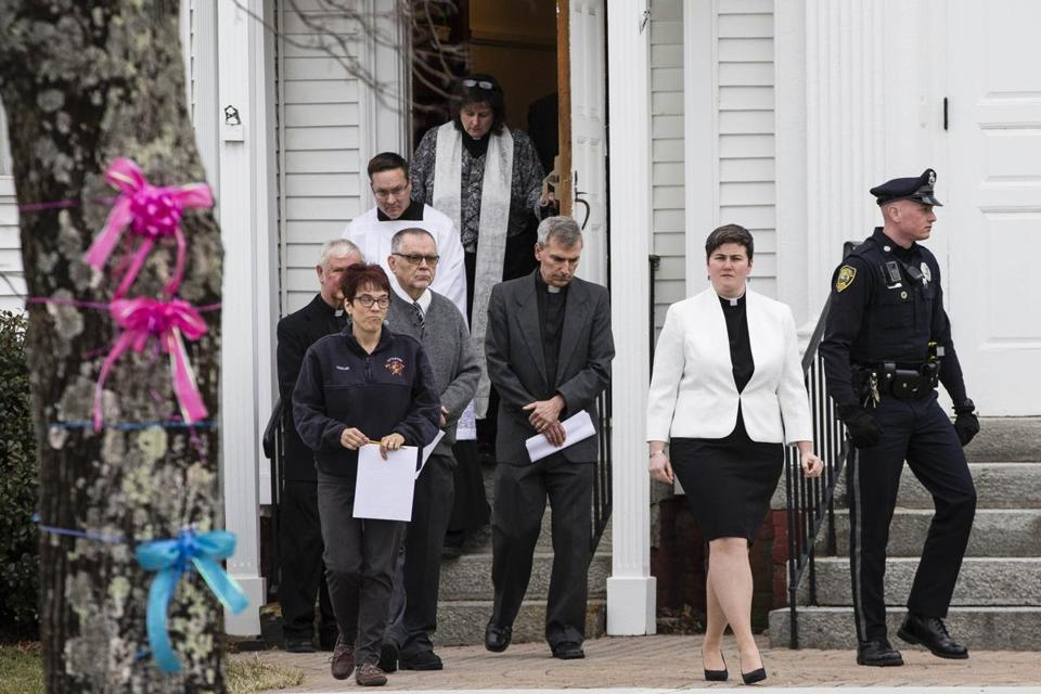 Members of the clergy entered the First Congregational Church for a memorial service for Sara Bermudez and her three children in early March.