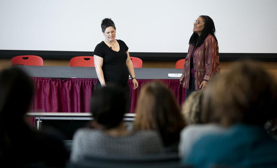Tiana Veldwisch of MIT (left) and Evelyn Moore of Leslie University performed at an improv sexual harassment workshop.