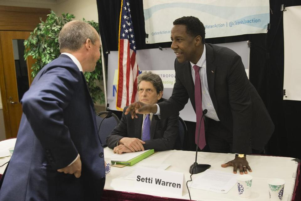 Gubernatorial candidates (from left) Jay Gonzalez, Bob Massie, and Setti Warren before Monday's forum on the environment.