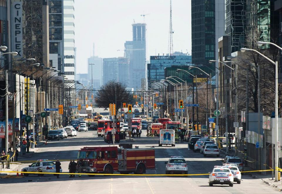 Emergency services closed Yonge Street in Toronto after a van mounted the sidewalk, crashing into a crowd of pedestrians.