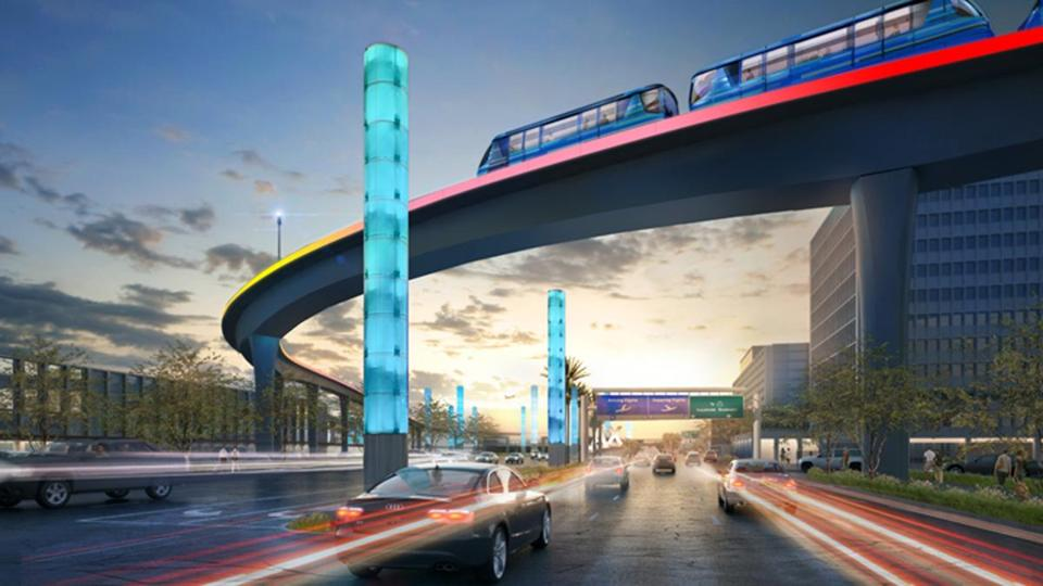 A rendering of the proposed people mover system at Los Angeles International Airport.
