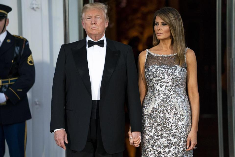 President Trump and first lady Melania Trump waited for the arrival of the guests of honor at Tuesday's state dinner at the White House.