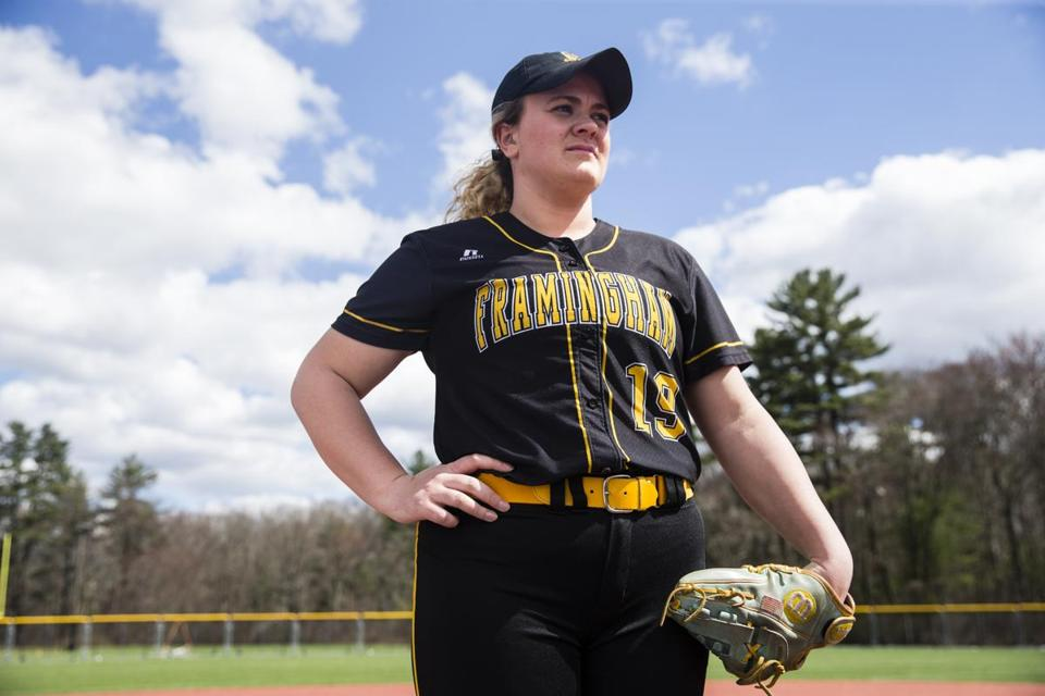 Kayla Finacchiaro stood on the athletic fields at Framingham State University in Framingham.