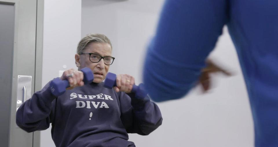 "Justice Ginsburg mid-workout in the documentary ""RBG."""