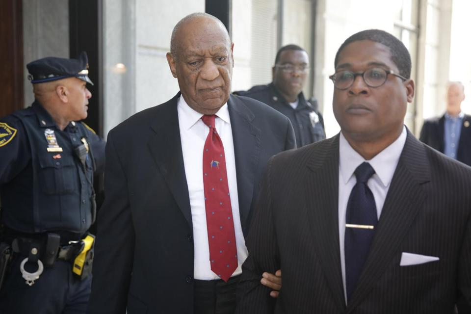 TOPSHOT - Actor and comedian Bill Cosby (C) comes out of the Courthouse after the verdict in the retrial of his sexual assault case at the Montgomery County Courthouse in Norristown, Pennsylvania on April 26, 2018. Disgraced television icon Bill Cosby was convicted Thursday of sexual assault by a US jury -- losing a years-long legal battle that was made tougher at retrial as the first celebrity trial of the #MeToo era. / AFP PHOTO / Dominick ReuterDOMINICK REUTER/AFP/Getty Images