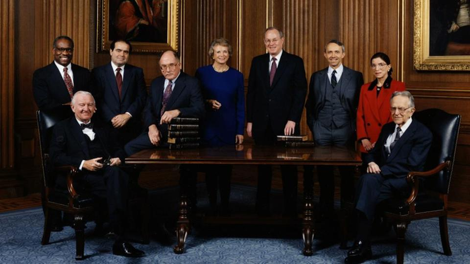 "Photo of the Supreme Court Justices, c. 1993 in the 2018 documentary film ""RBG,"" directed by Betsy West, Julie Cohen. A Magnolia Pictures release. Photo courtesy of Magnolia Pictures."