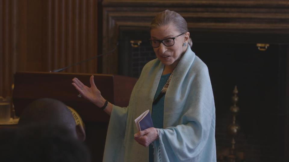 "Supreme Court Justice Ruth Bader Ginsburg is shown in a still image from the documentary ""RBG."""