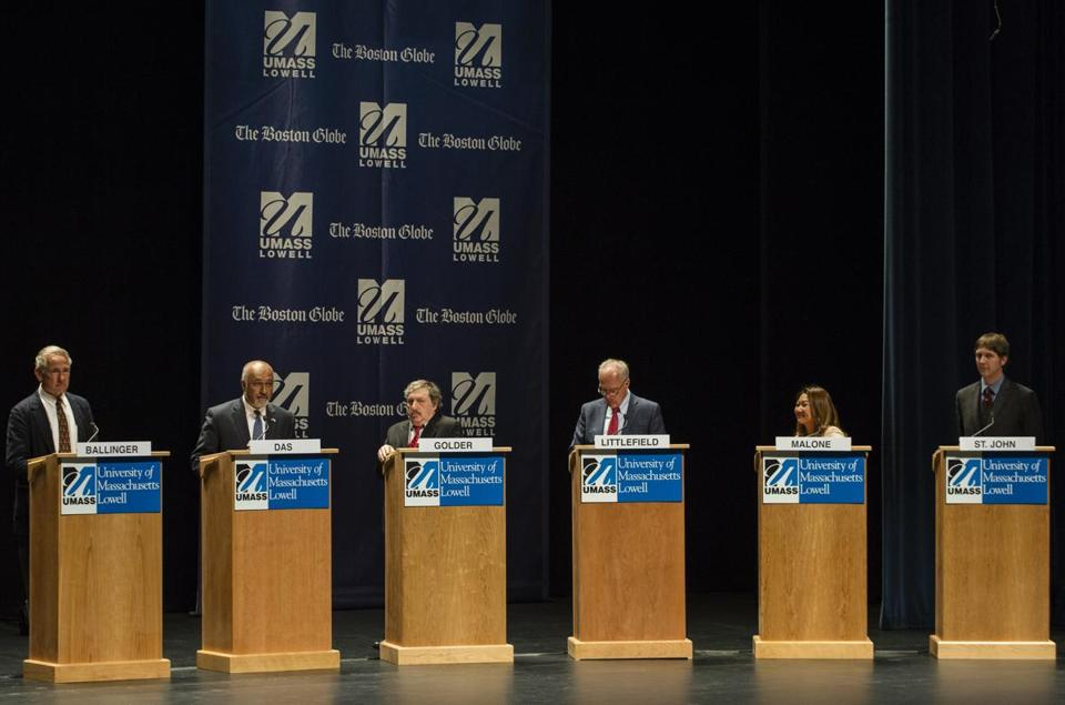 Lowell, Massachusetts - 4/29/2018 - (Left to right) Jeff Ballinger, Beej Das , Leonard Golder, Patrick Littlefield, Bopha Malone, and Keith St. John take part in a debate between the Democratic candidates for the third district congressional seat in Lowell, Massachusetts, April 29, 2018. (Keith Bedford/Globe Staff)