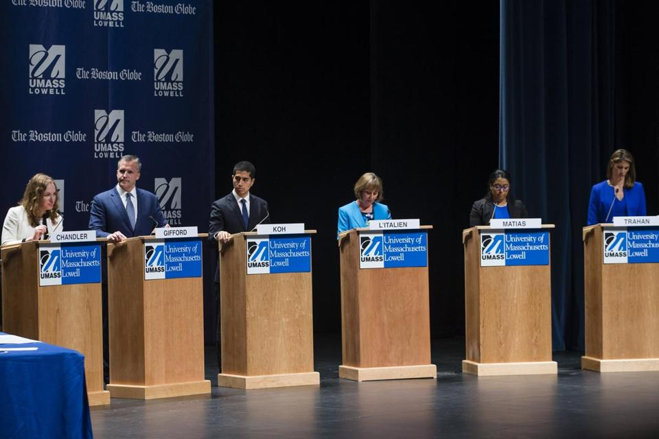 Lowell, Massachusetts - 4/29/2018 - Candidates (Left to right) Alexandra Chandler, Rufus Gifford, Daniel Koh, Barbara L'Italien,Juana Matias, and Lori Trahan participate in a debate between the Democratic candidates for the third district congressional seat in Lowell, Massachusetts, April 29, 2018. (Keith Bedford/Globe Staff)