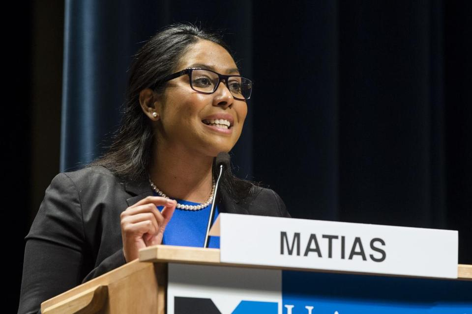 Lawrence state Representative Juana Matias is campaigning for the congressional seat being vacated by retiring US Representative Niki Tsongas.