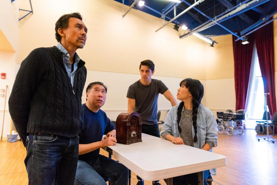 "From left: Ron Domingo, Gary Thomas Ng, Sam Tanabe, and Grace Yoo at a rehearsal of ""Allegiance."""