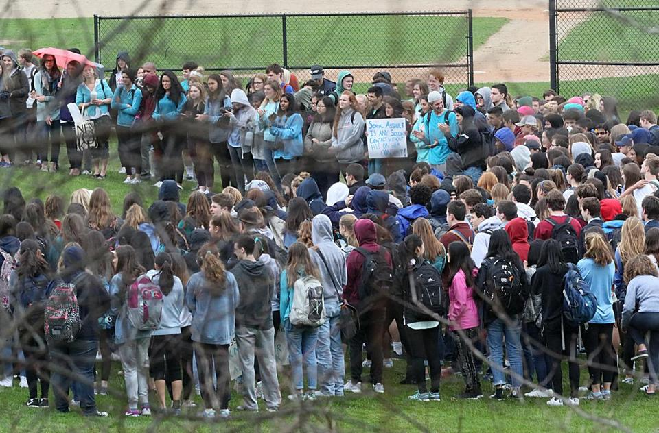 Students walked out of Lincoln Sudbury High School to protest the school's handling of a sexual assault case.