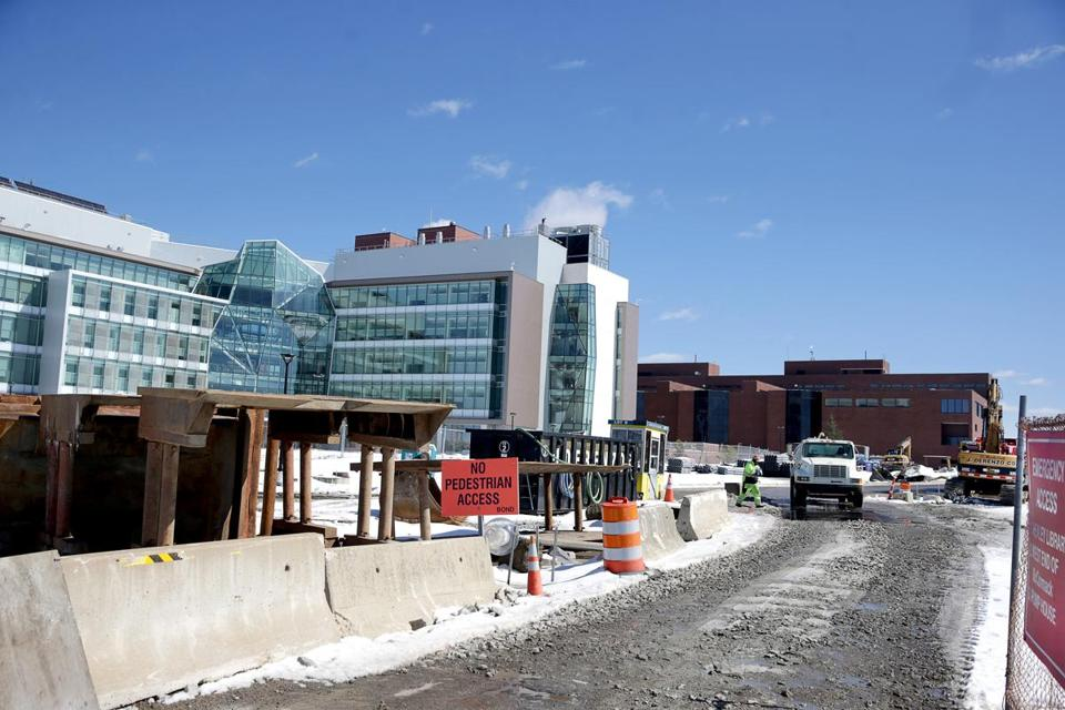 Construction at UMass Boston in a 2017 file photo.