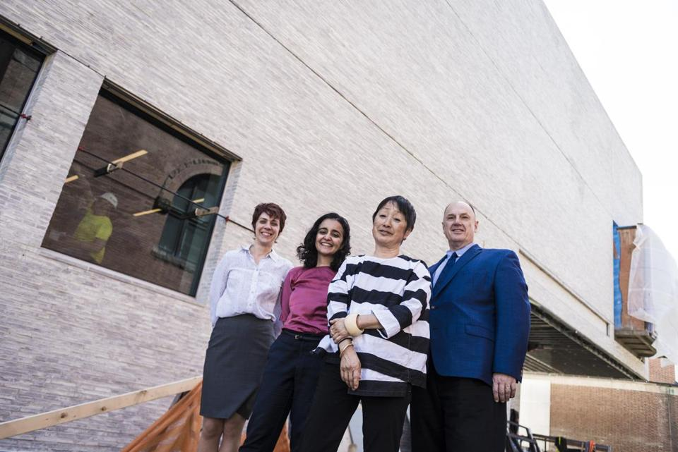 Juliette Bianco, Hood Museum deputy director; Azadeh Rashidi, project architect; Billie Tsien, head architect of renovations; and John Stomberg, Hood director, at the museum during renovations.
