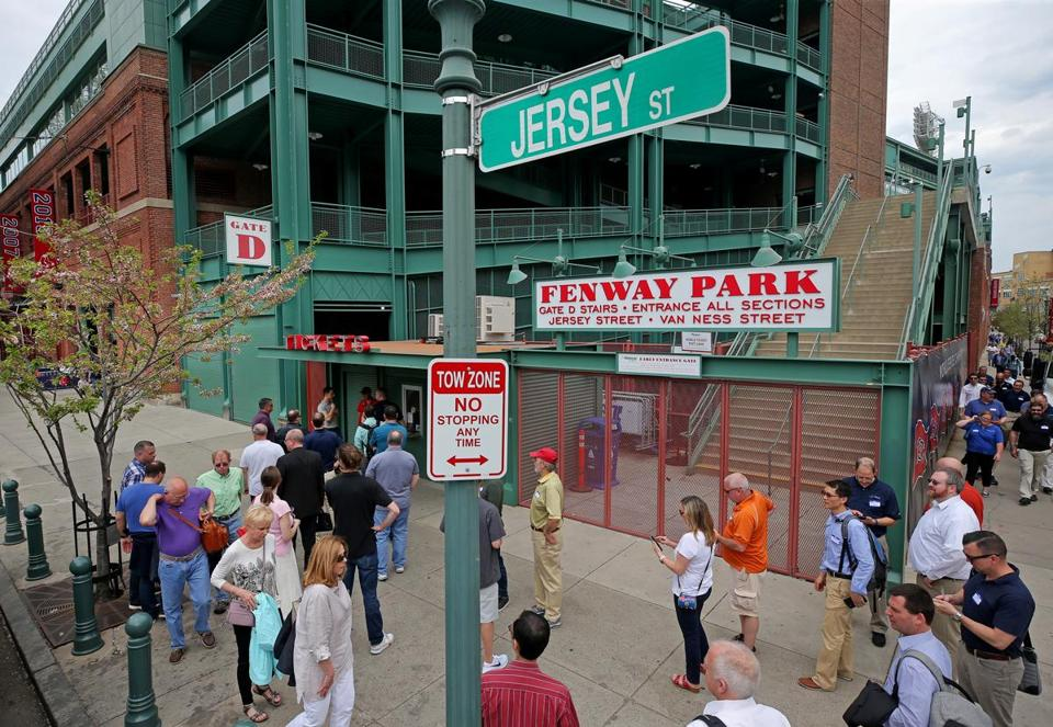 Jersey Street signs replaced Yawkey Way ones last week in front of Fenway Park.