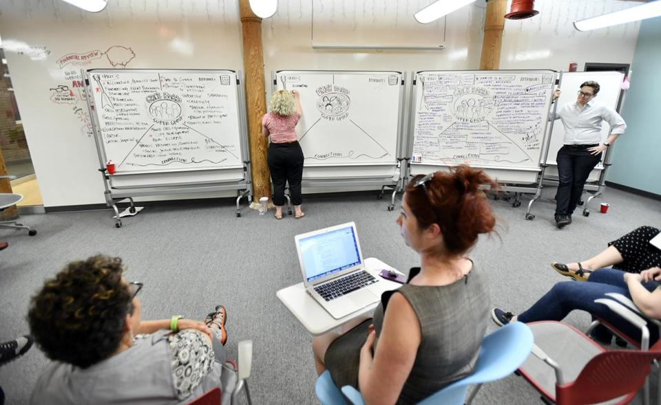 Erin King, creative director for Collective Next, worked as the graphic facilitator during a board meeting of Girls Rock Camp Boston, while Kris Henry (right), worked as the meeting facilitator.