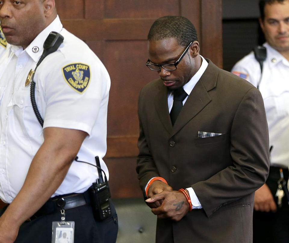 Shaquille Brown enters court room for a hearing at Suffolk Superior Court.