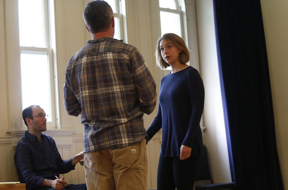 "Guy Ben-Aharon (left) with Craig Mathers and Annelise Lawson rehearsing ""The Last Act"""