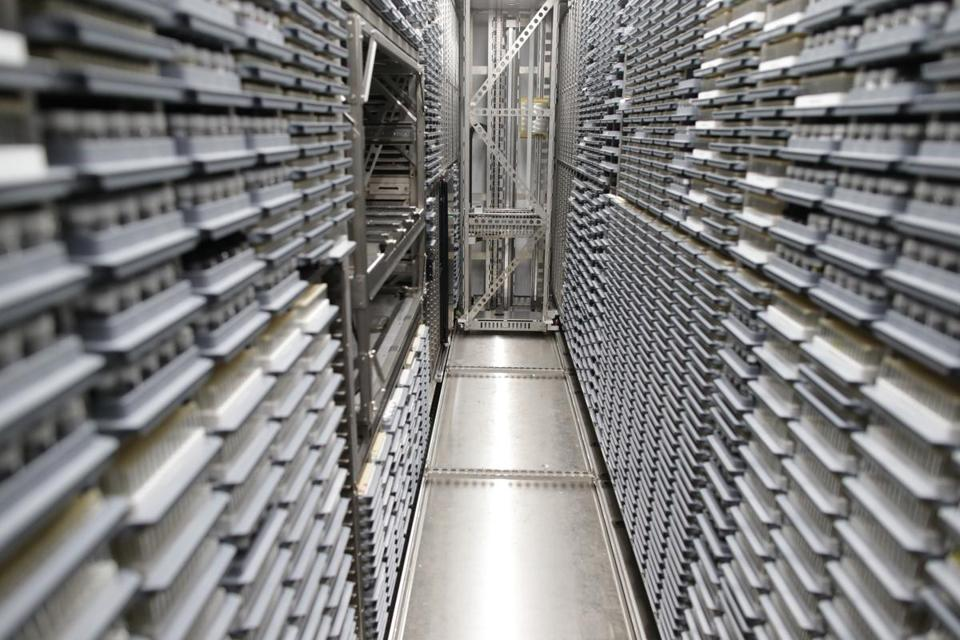 A freezer at the Broad Institute in Cambridge, where the vials of compounds are stored.