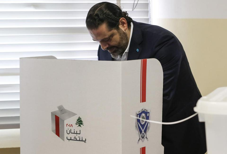 Prime Minister Saad Hariri marked his ballot as he voted at a polling station in Beirut on Sunday. It was the first election in Lebanon in almost a decade.