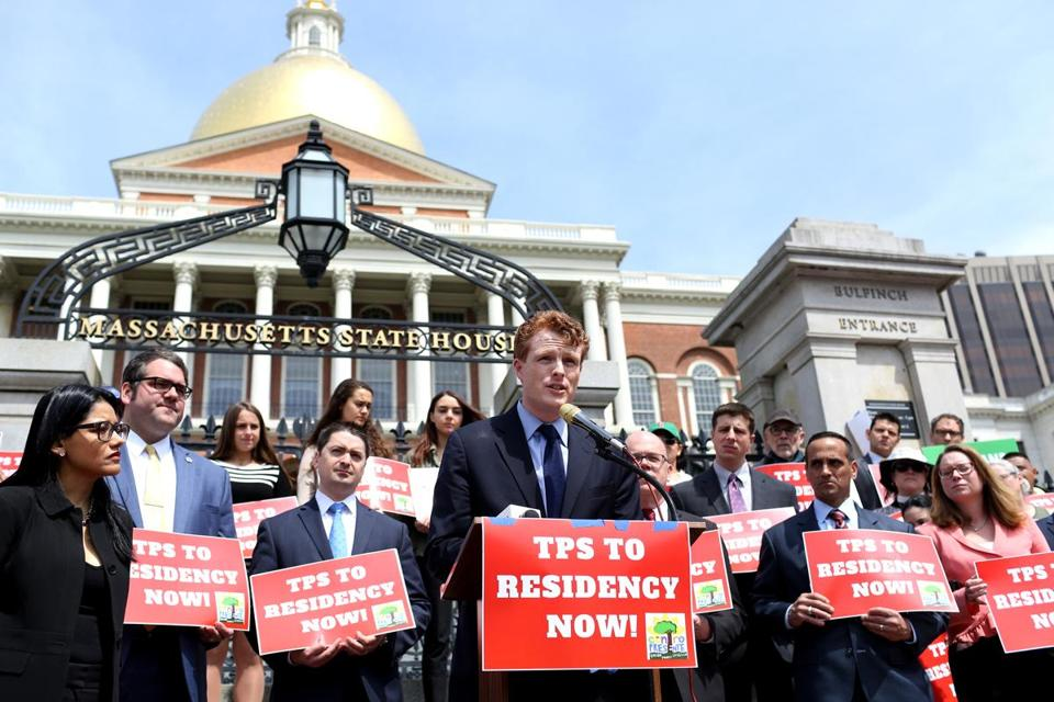 Representative Joe Kennedy III spoke at a State House rally for temporary protected status for Hondurans, which has been revoked.