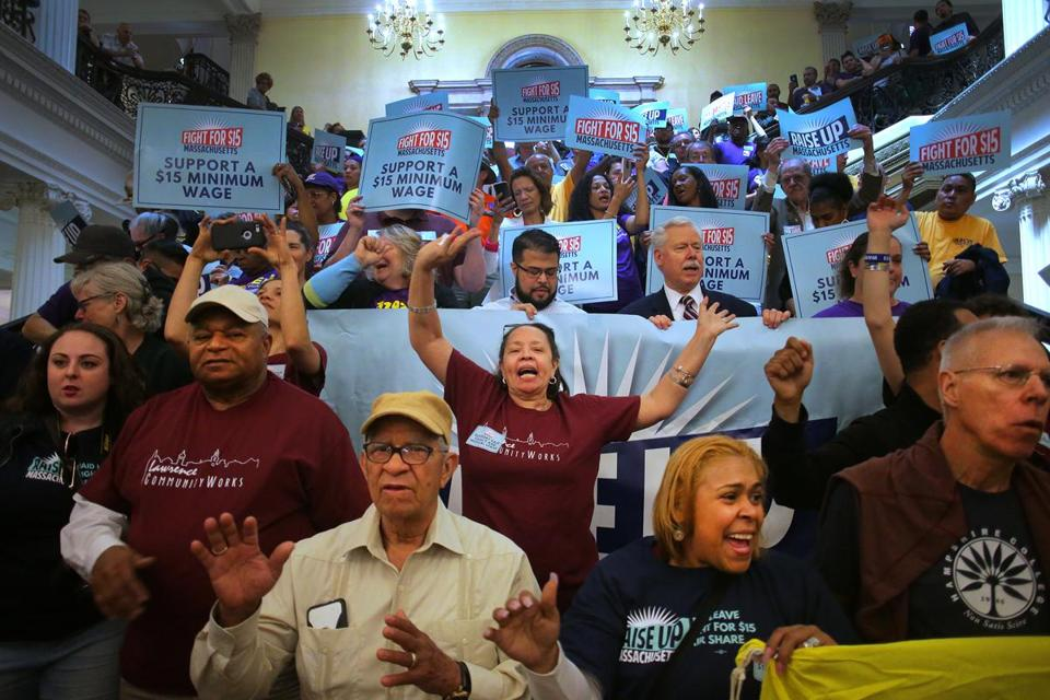 Boston, MA - 05/08/18 - Hundreds rallied inside the State House for paid leave and a $15 minimum wage. The Raise Up Massachusetts coalition rally featured speakers and a march inside the building that passed by Speaker DeLeo's office. (Lane Turner/Globe Staff) Reporter: (in caps) Topic: (09rally)