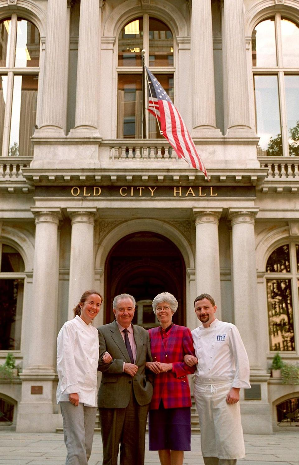 9/23/96-BOSTON- Members of the Maison Robert restaurant dynasty located at Old City Hall are Lucien and Ann Robert, center, their daughter Andree and nephew Jacky, right.