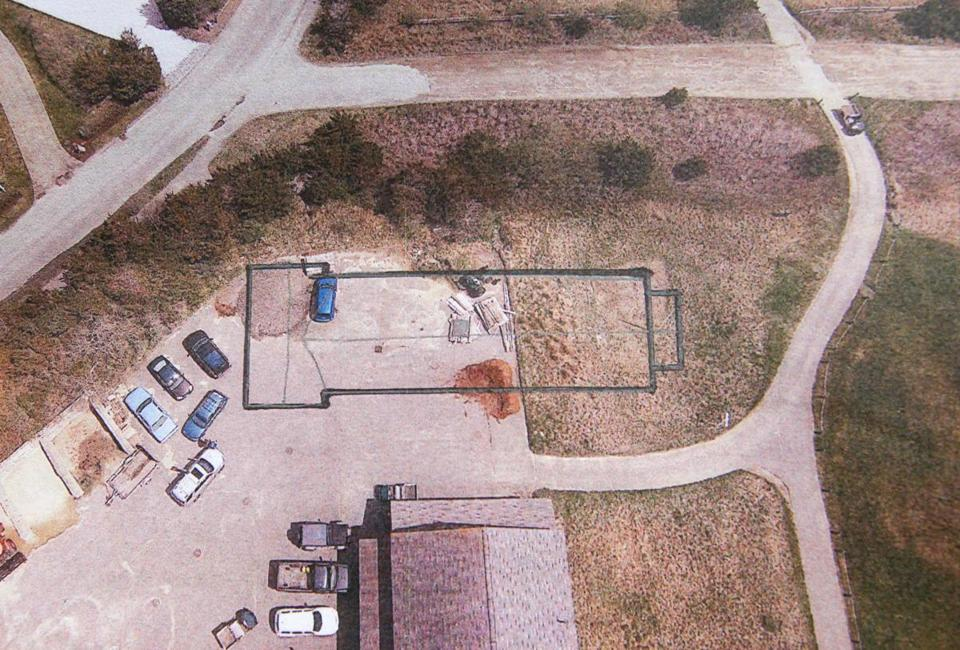 The proposed foot print of the dorm building was drawn onto an overhead photo of the Miacomet Golf Maintenance Facility.