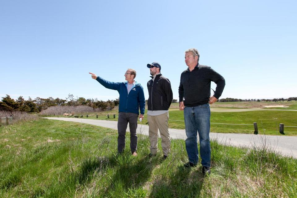 From left, Eric Savetsky, executive director of the Nantucket Land Bank; Sean Oberly, supervisor of the Miacomet Golf Course; and Neil Paterson, chairman of the Nantucket Land Bank. Land Bank officials say a dorm for seasonal workers is needed on the course to address the island's housing crisis, which has made it so hard to find affordable apartments that some workers have been sleeping on basement floors or in old shipping containers.