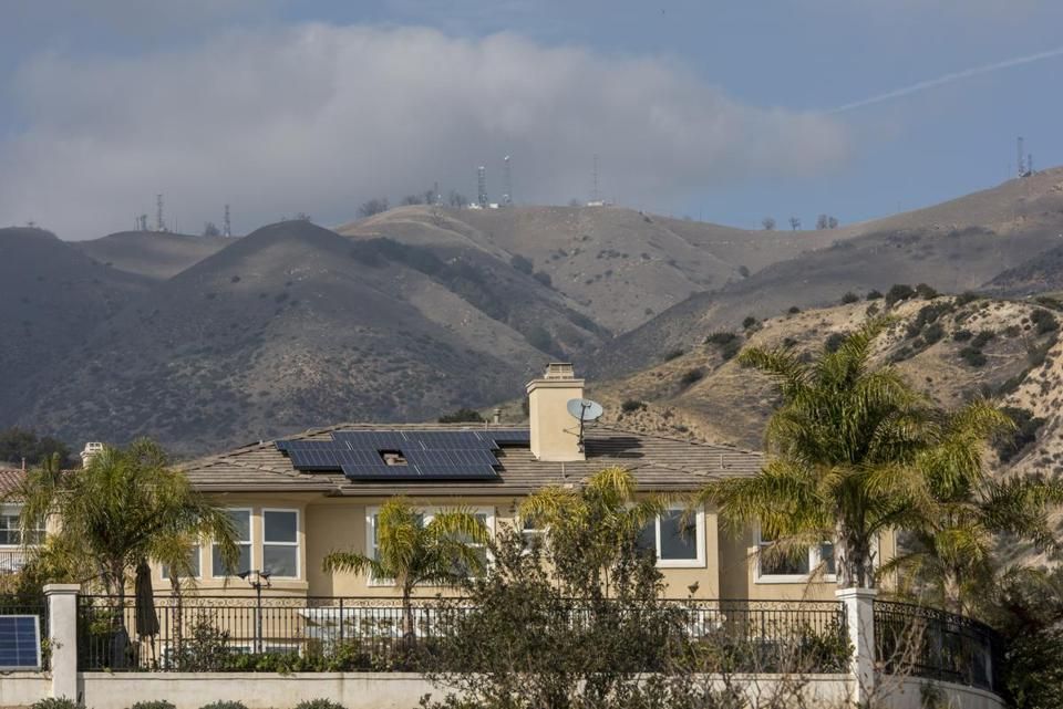 A residential home with solar panels in Porter Ranch, California.